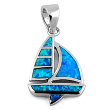 Load image into Gallery viewer, Sterling Silver Sailboat Blue Lab Opal Pendant