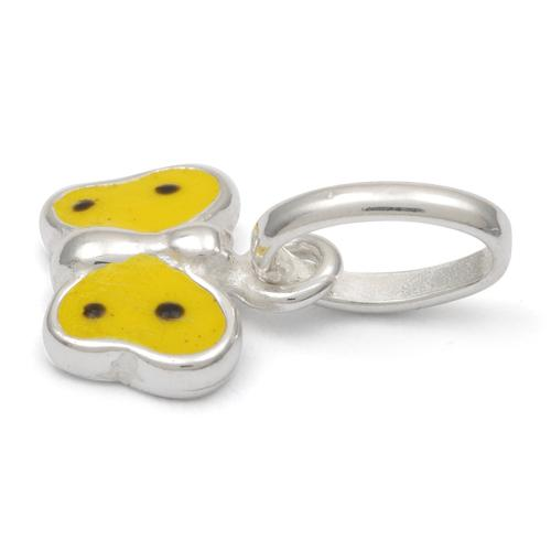Sterling Silver Yellow Enamel Butterfly Small Charm
