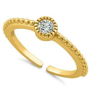 Sterling Silver Yellow Gold CZ Toe Ring