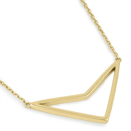Sterling Silver Yellow Gold Plated Down Arrow Necklace
