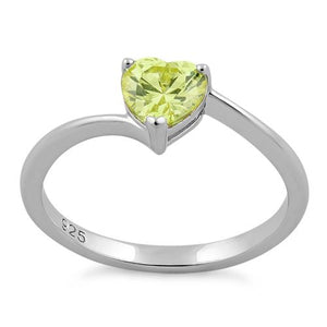 Sterling Silver Yellow Heart CZ Ring