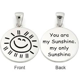 "Sterling Silver ""You are my Sunshine my only Sunshine"" Large Pendant"
