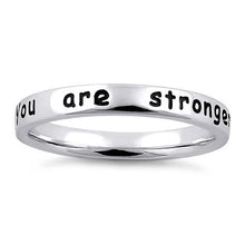 "Load image into Gallery viewer, Sterling Silver ""You are stronger than you know"" Ring"