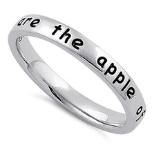 "Load image into Gallery viewer, Sterling Silver ""You are the apple of my eye"" Ring"