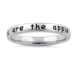 "Sterling Silver ""You are the apple of my eye"" Ring"