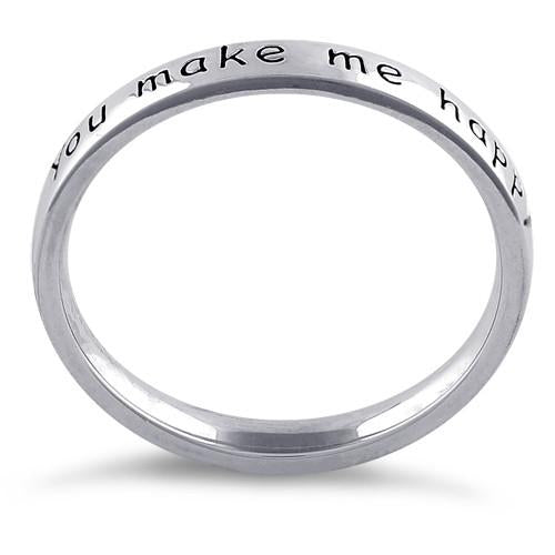 "Sterling Silver ""You Make Me Happy When Skies Are Grey"" Ring"