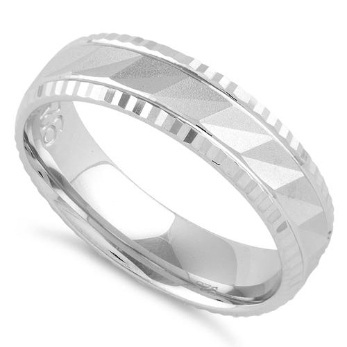 Sterling Silver Zig Zag Wedding Band Ring