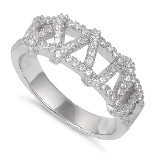 Sterling Silver Zigzag CZ Ring