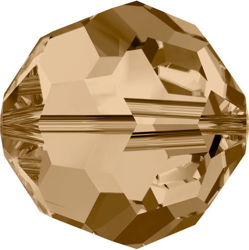 Swarovski Beads 5000 Round, 6MM, Crystal Golden Shadow - Pack of 10