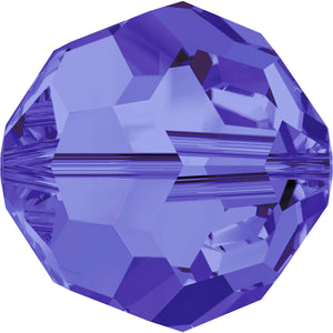 Swarovski Beads 5000 Round, 4MM, Tanzanite - Pack of 15