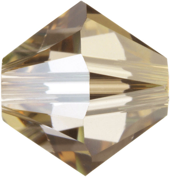 Swarovski Beads 5328 Bicone, 4MM, Crystal Golden Shadow - Pack of 25