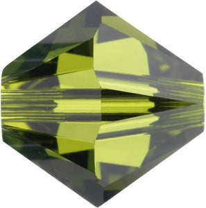 Swarovski Beads 5328 Bicone, 4MM, Olivine - Pack of 25