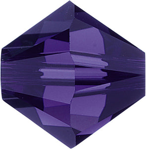 Swarovski Beads 5328 Bicone, 6MM, Purple Velvet - Pack of 20