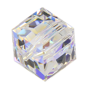 Swarovski Beads 5601 Cube, 6MM, Crystal AB B - Pack of 4