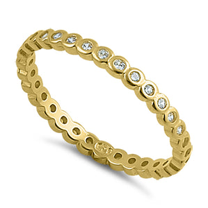 Yellow Gold Eternity Stackable CZ Ring