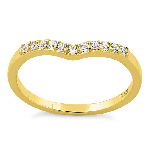 Yellow Gold Plated Pointed V CZ Ring