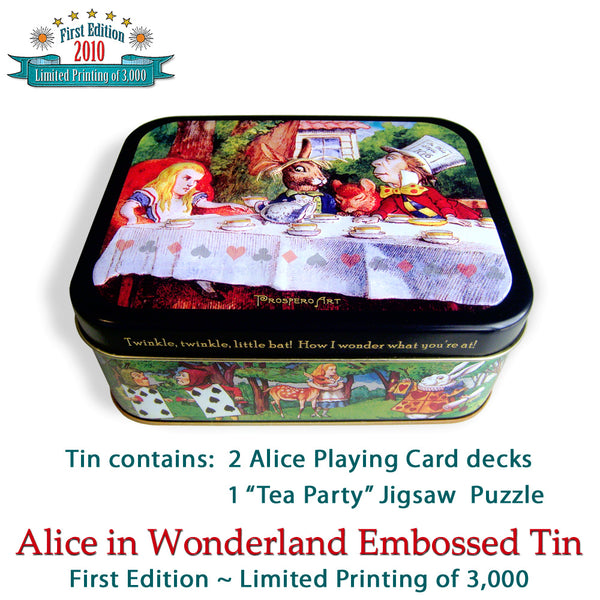 Alice in Wonderland Embossed Tin with Playing Cards and Puzzle