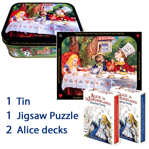 Alice in Wonderland Collector Tin Box ~ with Two Playing Card Decks and 150 piece Jigsaw Puzzle