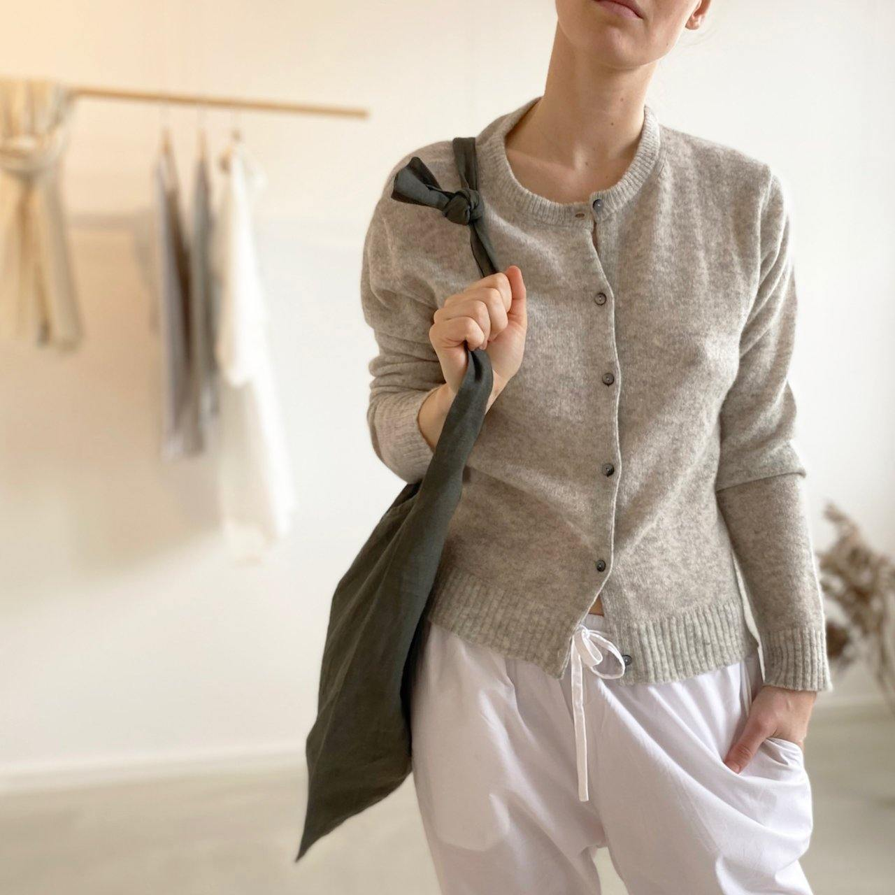 AMY cardigan CARE BY ME cashmere silk LINA pants HANG bag