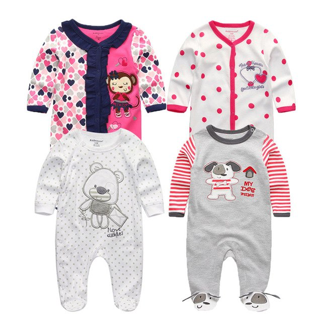78b266e9dc4 2018 1 3 4 5PCS lot Newborn Baby Rompers Full Sleeve-