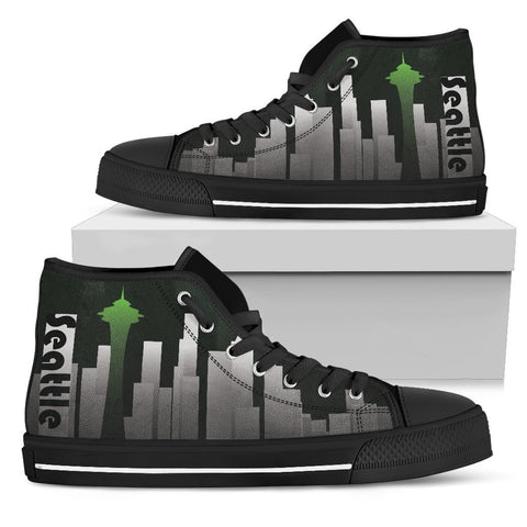 Canny Creations High Tops Mens High Top - Black - Seattle Skyline | Dark / US5 (EU38) Seattle Skyline