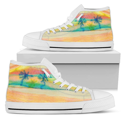 Canny Creations High Tops Womens High Top - White - Watercolor Beach | Light / US5.5 (EU36) Watercolor Beach