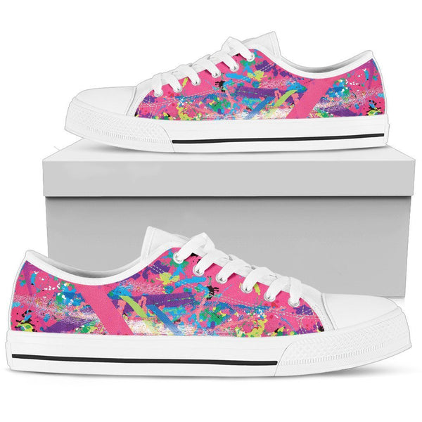 Canny Creations low tops Womens Low Top - White - Abstract Chaos | Pink / US5.5 (EU36) Abstract Chaos