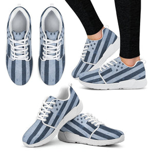 Canny Creations Shoes Women's Athletic Sneakers - White - American Flag Contrast | Blue / US5 (EU35) American Flag Vintage