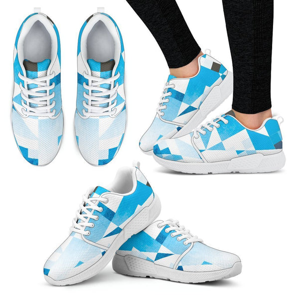 Canny Creations Shoes Women's Athletic Sneakers - White - Pixles and Shapes | Blue / US5 (EU35) Pixles and Shapes