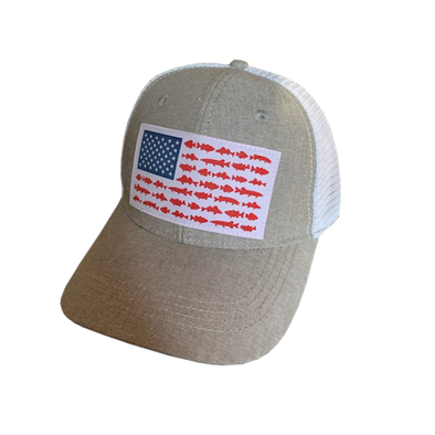Lund USA Flag Fish Design Hat