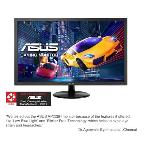 Asus vp228h gaming monitor - 54.6cm(21.5) fhd (1920x1080) , 1ms, low blue light, flicker free