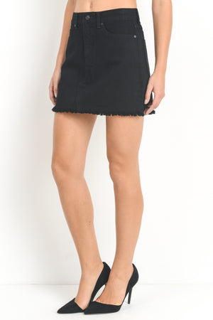 Black Mini Skirt with Fringe Hem | Cayman & Co. Boutique