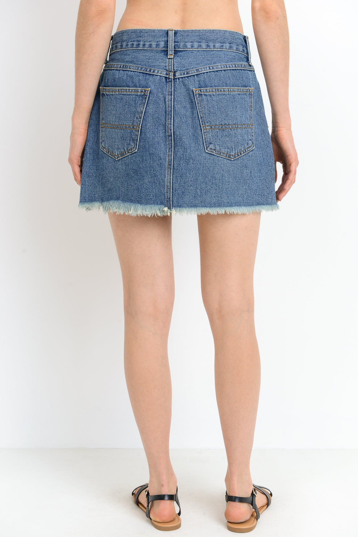 Denim Mini Skirt with Fringe Hem | Cayman & Co. Boutique