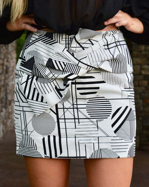 Black and White Aztec Mini Skirt  | Cayman & Co. Boutique