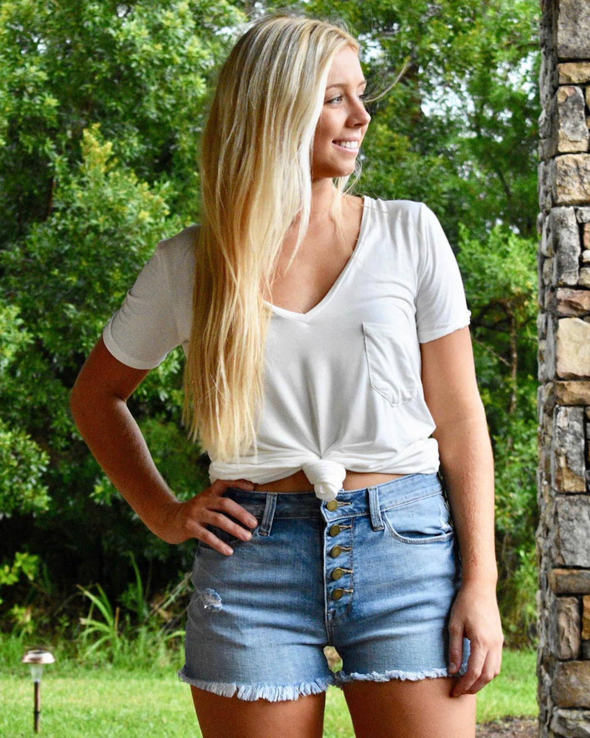 High-Rise Button Down Shorts  | Cayman & Co. Boutique