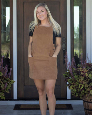 Babydoll Corduroy Dress, Cognac