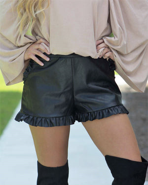 Faux Leather Ruffle Shorts, Black