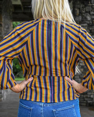 Geneva Keyhole Stripe Top  | Cayman & Co. Boutique