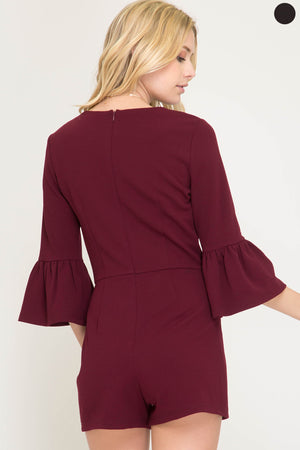 Girls' Night Romper, Maroon