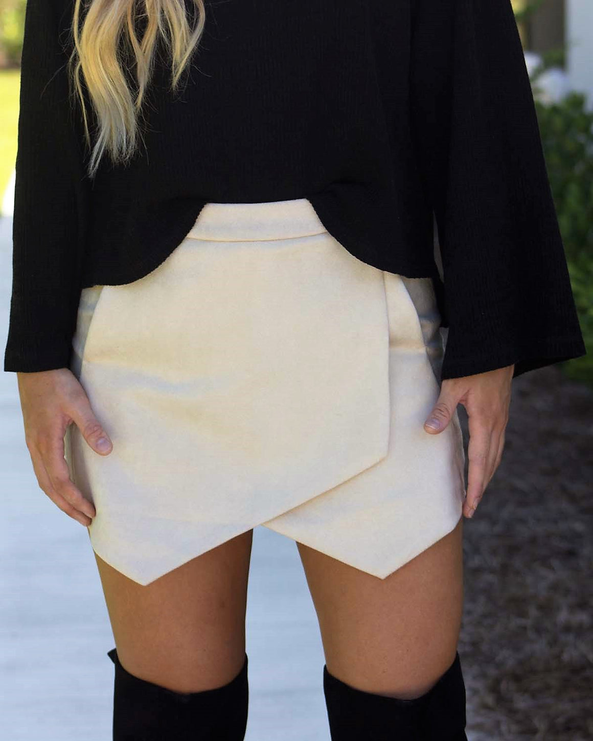Faux Suede Envelope Shorts, Beige