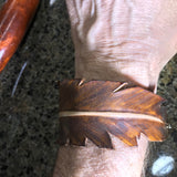 Handmade Leather Bracelet - Brown Feather- FREE SHIPPING CONUS