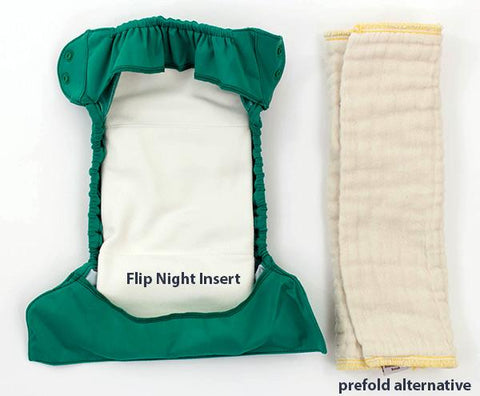 Flip cloth nappy cover inside with prefold and insert