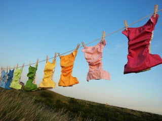 Cloth nappies drying on a line