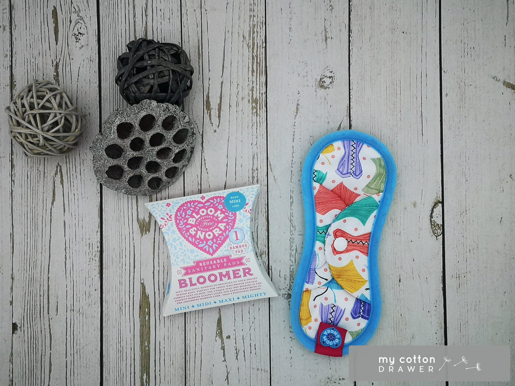 Bloom and nora cloth sanitary pad made by tots Bots. gift box