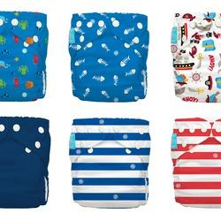 Charlie Banana - 6 pack Pocket Cloth Nappy Set - Ocean Flair