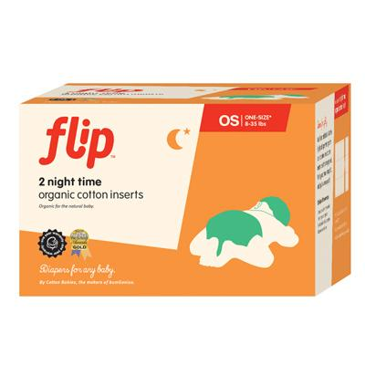 Flip cloth nappy organic cotton night time inserts 2 pack