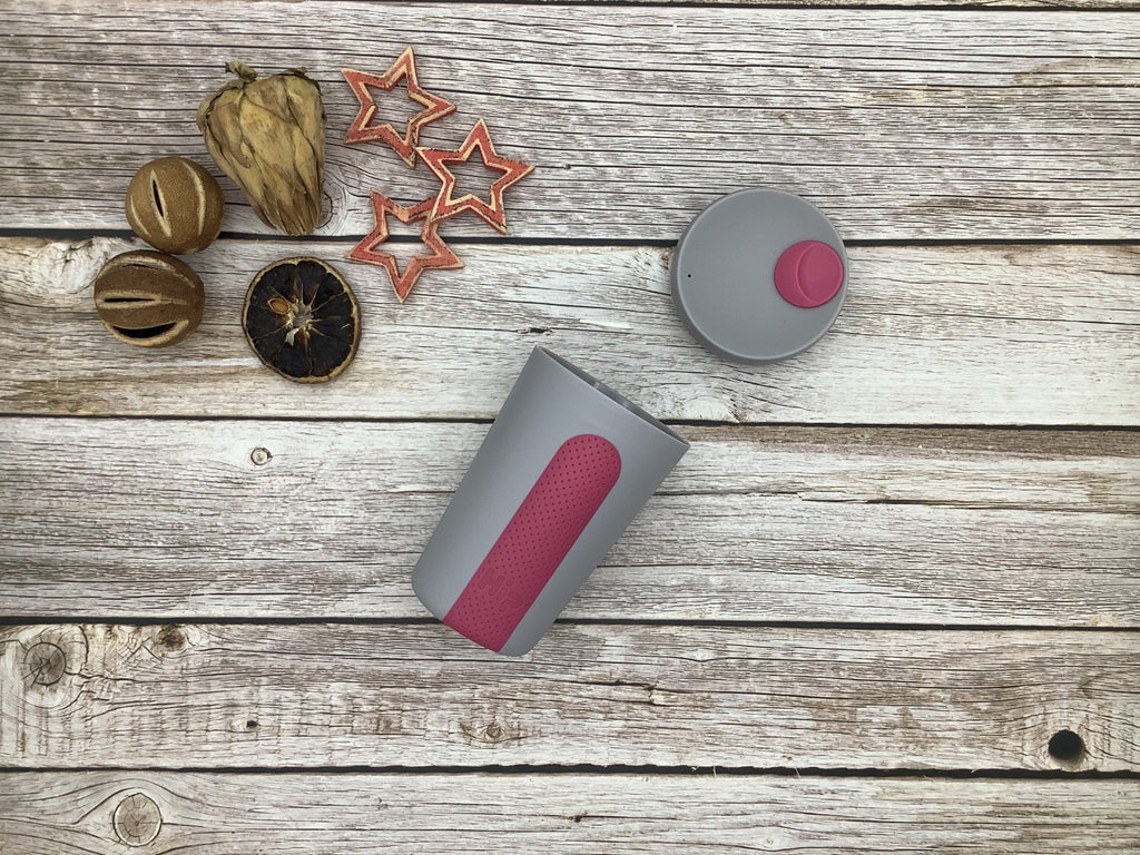 Hip hydration travel cup reusable coffee cup stone and hot pink