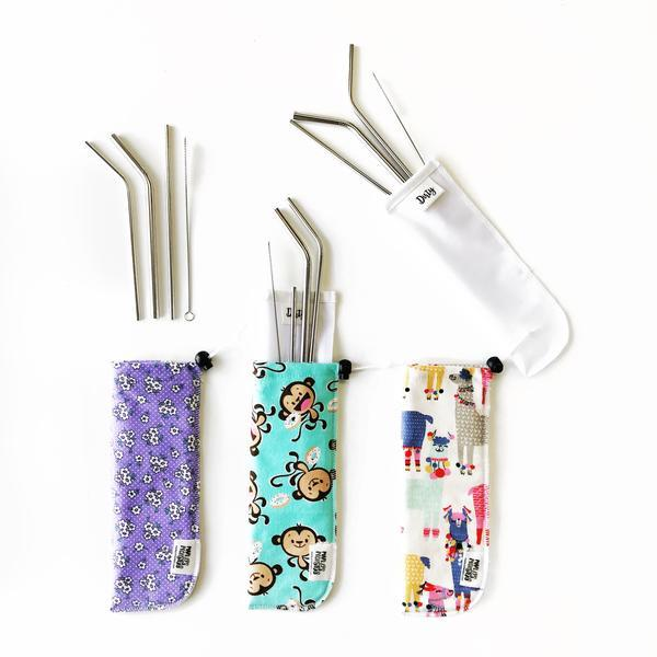Marleys Monsters regular straw pouch with stainless steel straws