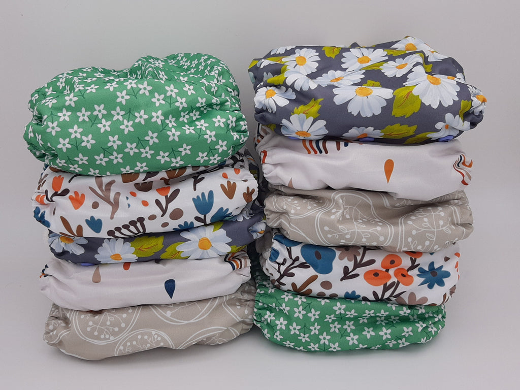 My Cotton Drawer - Bamboo Pocket Cloth Nappy 10 Pack - Flowers
