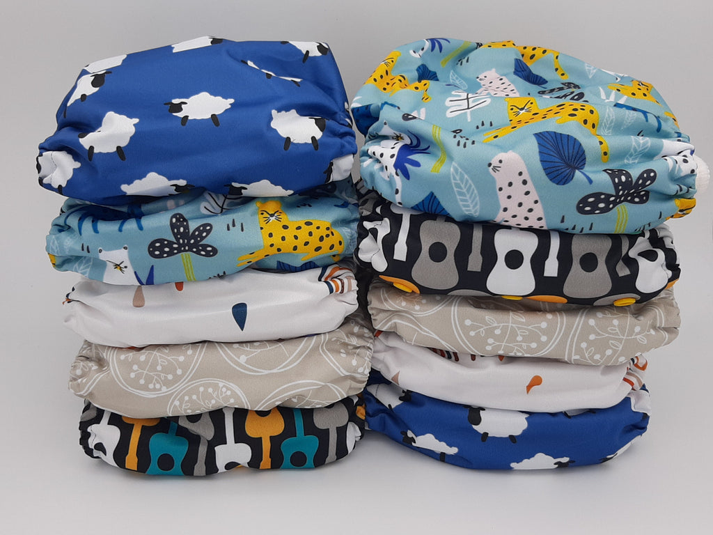 My Cotton Drawer - Bamboo Pocket Cloth Nappy 10 Pack - Musical Animals